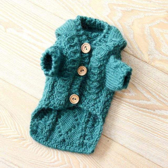 Frenchie World Shop Green / XS 100% Wool Handmade Knitted Cardigan