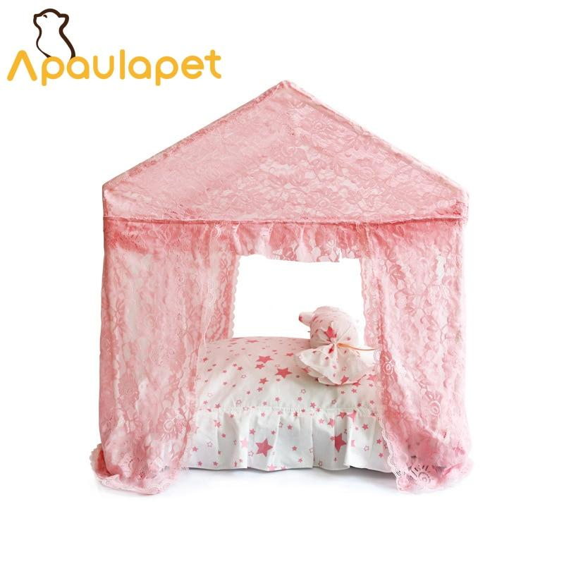 Frenchie World Shop APAULAPET Disassembly Dog Bed Summer Four Curtain Ventilation Netting Pet Dog House Cute Pet Tent With Little Pillow Bow Design