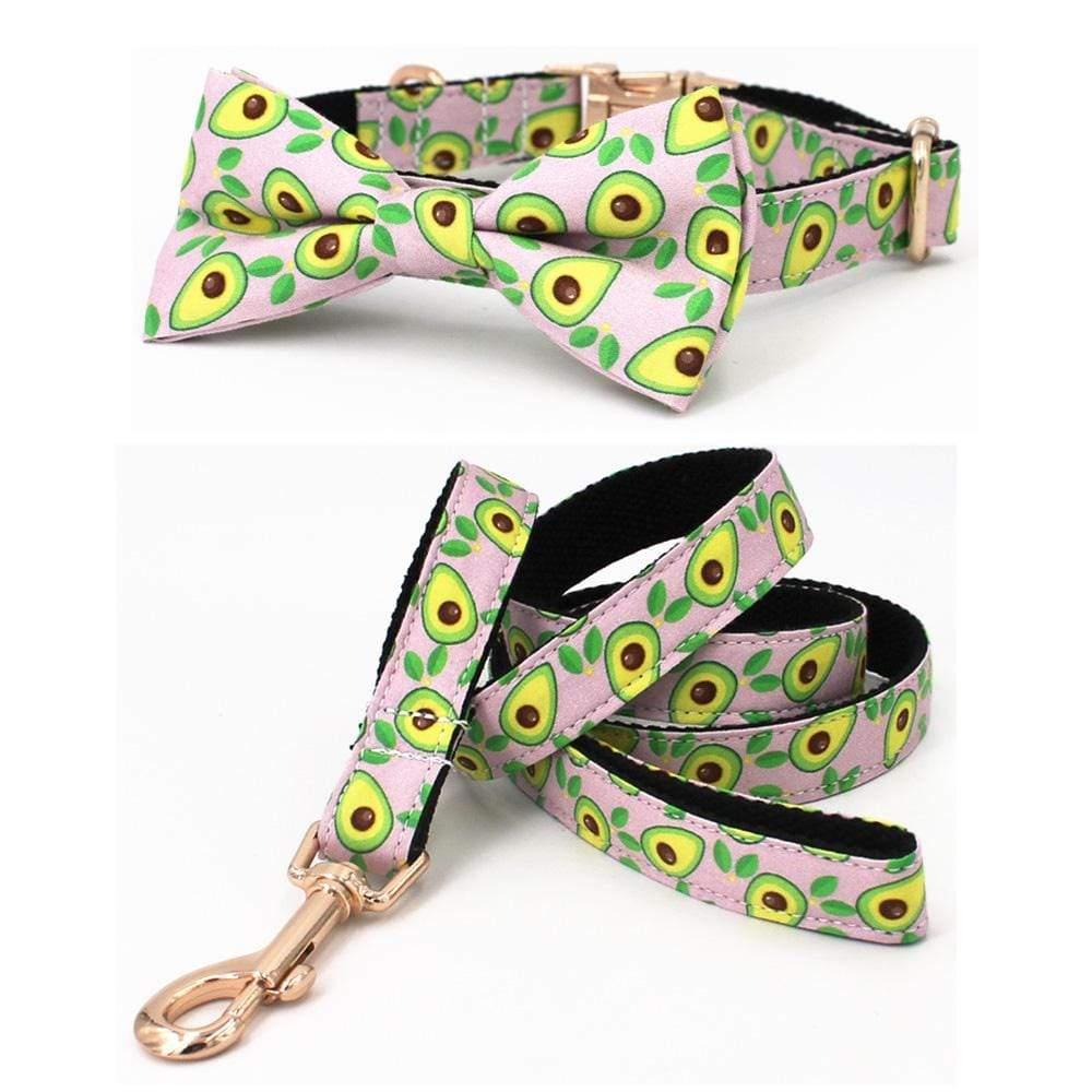 Frenchie World Shop Avocado Print Collar, Leash & Bowtie Set