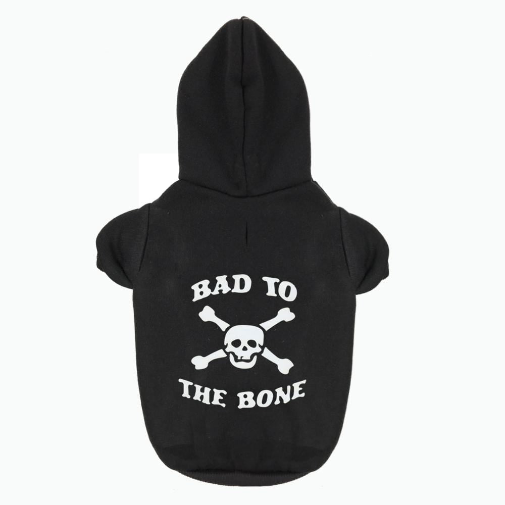 Frenchie World Shop Dog Clothing BAD TO THE BONE Printed Hoodie