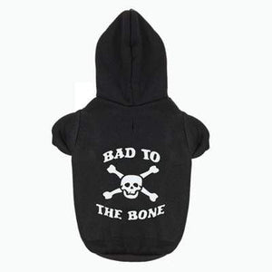 Frenchie World Shop Dog Clothing Black / XS BAD TO THE BONE Printed Hoodie