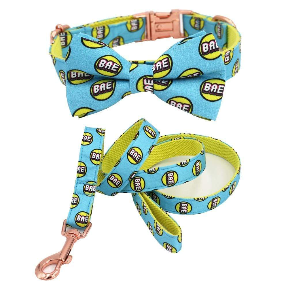 Frenchie World Shop Bae Printed Collar, Leash & Bowtie Set