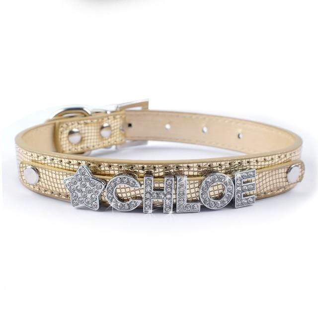 Frenchie World Shop Gold / S Bling Personalized French Bulldog Collar