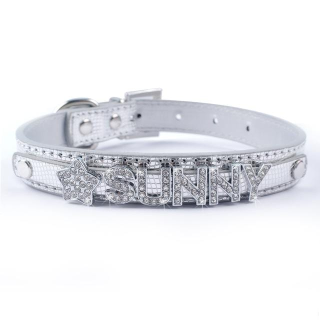 Frenchie World Shop Silver / S Bling Personalized French Bulldog Collar