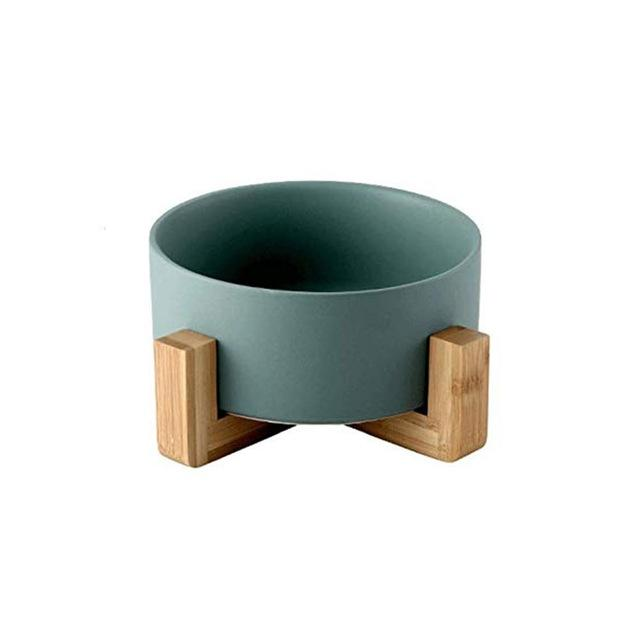 Frenchie World Shop Green Ceramic Feeding Bowl With Wooden Stand