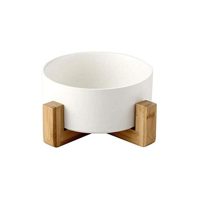 Frenchie World Shop White Ceramic Feeding Bowl With Wooden Stand