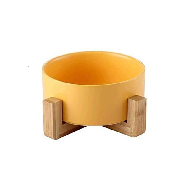Frenchie World Shop Yellow Ceramic Feeding Bowl With Wooden Stand