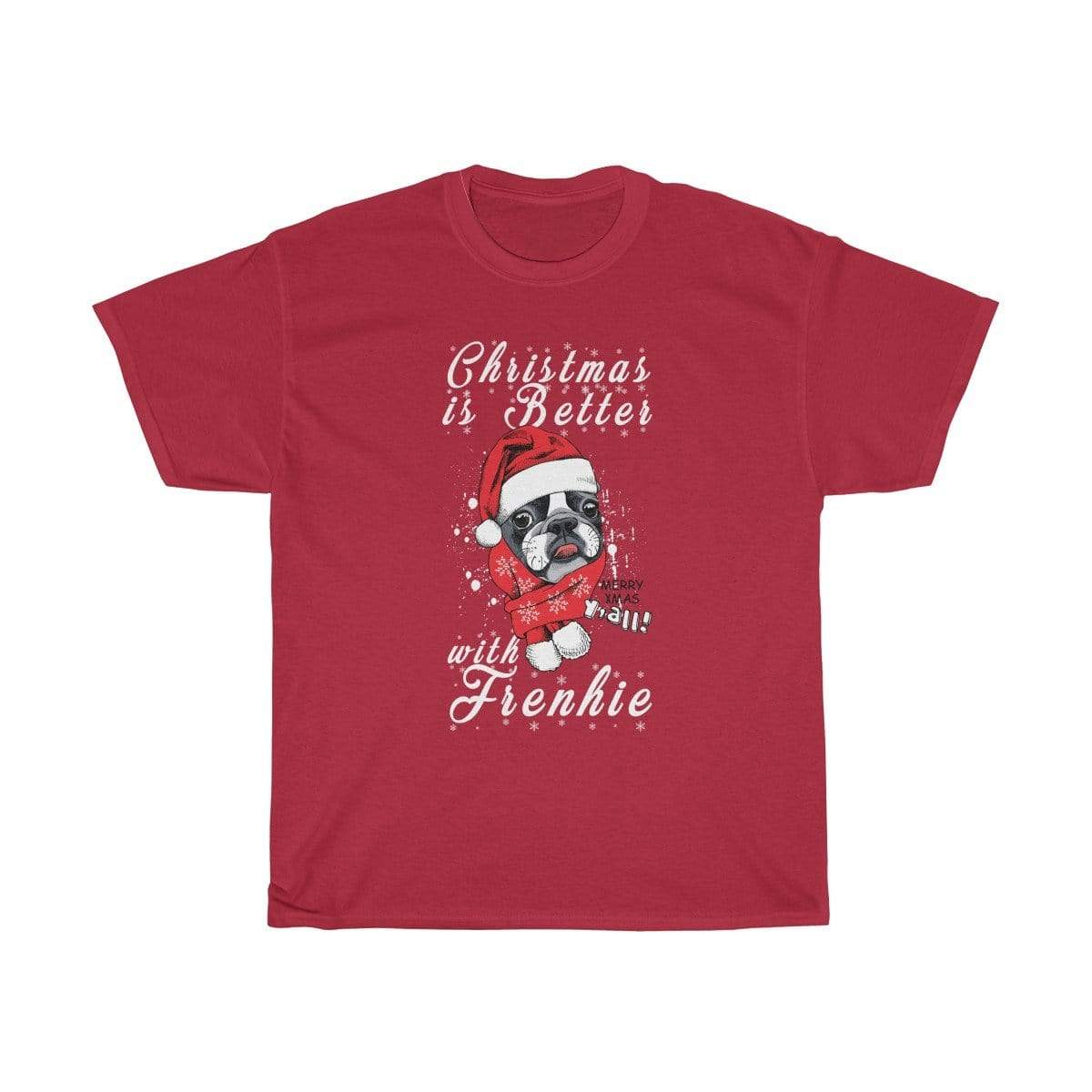 Printify T-Shirt Cardinal Red / S Christmas Frenchie Unisex Heavy Cotton Tee