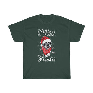 Printify T-Shirt Forest Green / S Christmas Frenchie Unisex Heavy Cotton Tee