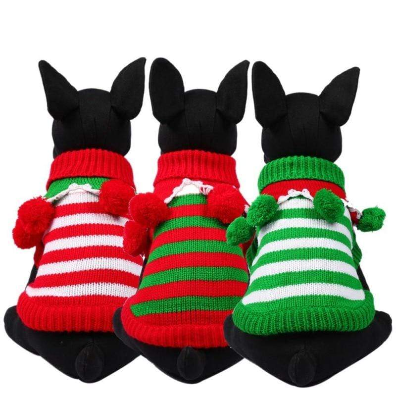 Frenchie World Shop Christmas Striped Sweater With Poms