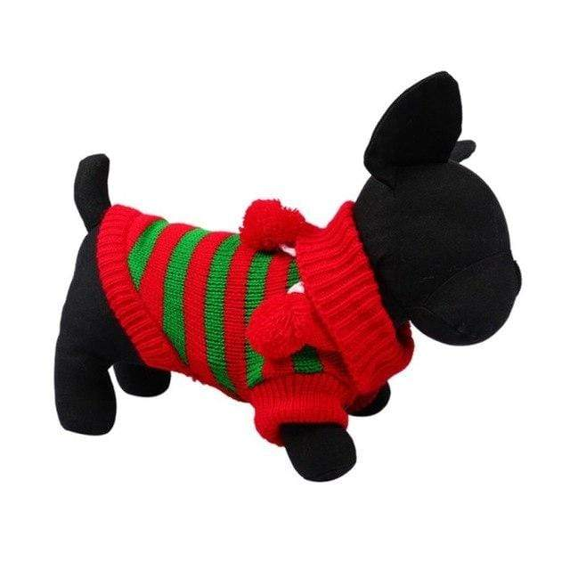 Frenchie World Shop RG / L Christmas Striped Sweater With Poms