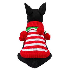 Frenchie World Shop RW / L Christmas Striped Sweater With Poms