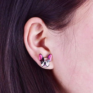 Frenchie World Shop Colorful Bohemian French Bulldog Earrings
