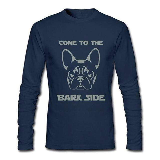 Frenchie World Shop Human clothing navy / Asian Size S Come To The Bark Side long sleeve shirt
