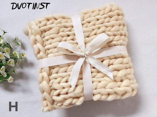 Frenchie World Shop H / 55x55CM Crochet Knitted Blanket