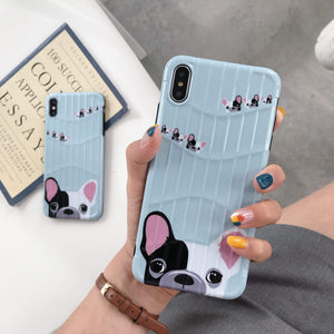 Frenchie World Shop Cute French Black White Bulldog Soft TPU Phone Case For iPhone X 8 7 6 6S Plus  XS Max XR Cases Cartoon Dogs  Cover Fundas Coque