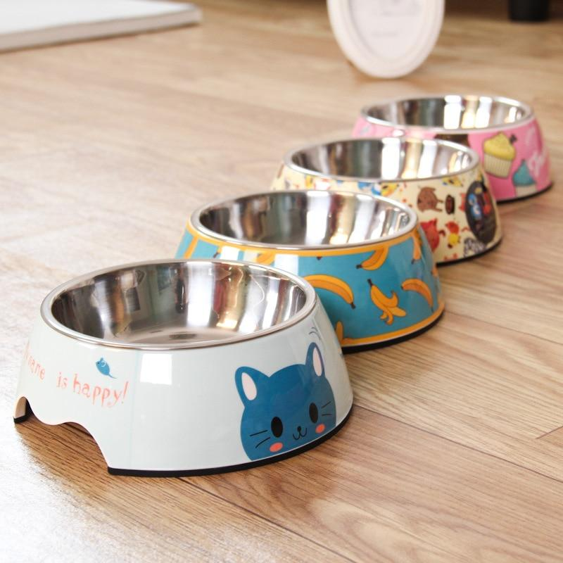 Frenchie World Shop Cute Pet Dog Cat Bowl for Dogs Stainless Steel Anti-Slip Pet Food Water Dishes Feeder Fountain Pet Drinking Feeding Bowls Tool