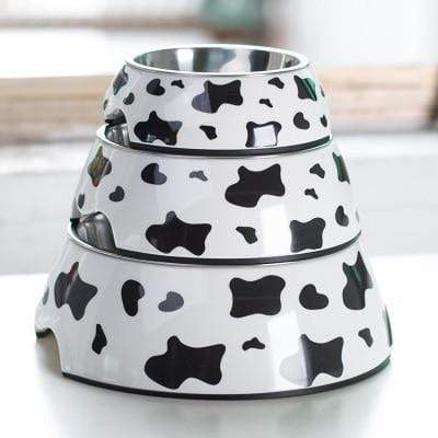 Frenchie World Shop Cow / L Cute Pet Dog Cat Bowl for Dogs Stainless Steel Anti-Slip Pet Food Water Dishes Feeder Fountain Pet Drinking Feeding Bowls Tool