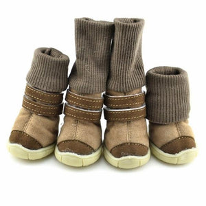 Frenchie World Shop C / 4 Deer Leather Dog Snow Boots
