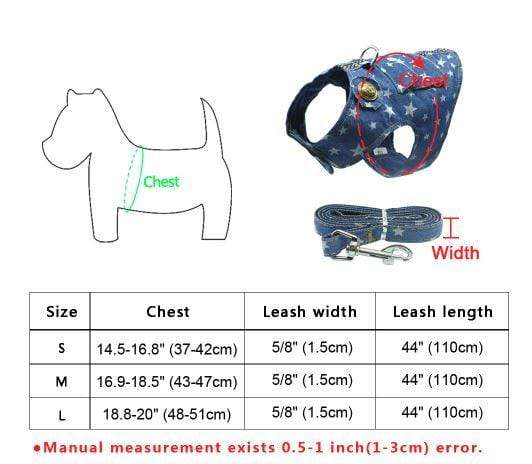 Frenchie World Shop Denim Dog Harness and Leash