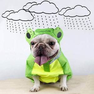 Frenchie World Shop Dog Raincoat Frog Print Pet Rain coat Waterproof Jacket For Puppy Clothes French Bulldog Popular Pet Dog Clothes bulldog frances