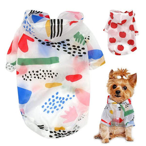 Frenchie World Shop Dog Raincoat Sun-proof Clothing Summer Sun Protection Hoodie Small Dog Clothes Print Poncho For Small Medium Pets Puppy Cat