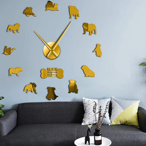 Frenchie World Shop Gold / 27inch English Bulldog Giant Wall Clock