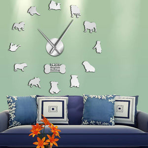 Frenchie World Shop Silver / 27inch English Bulldog Giant Wall Clock