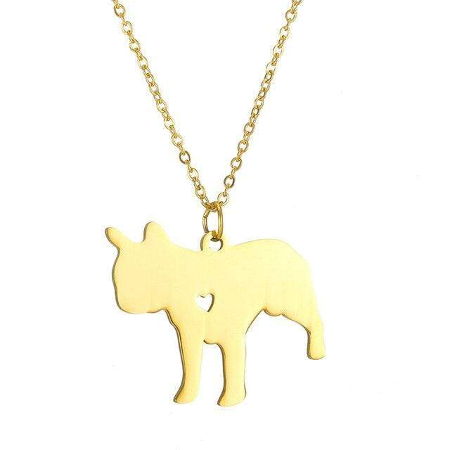 Frenchie World Shop Engraved French Bulldog Necklace with Pendant Charm
