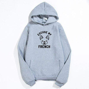 Frenchie World Shop Dark grey / XXL Excuse My French Printed Hoodie