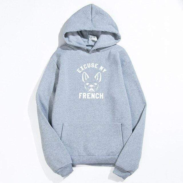 Frenchie World Shop Gray / XXL Excuse My French Printed Hoodie