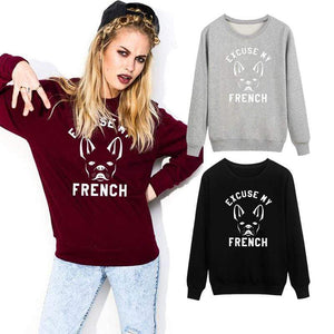 Frenchie World Shop Excuse My French Women Crewneck