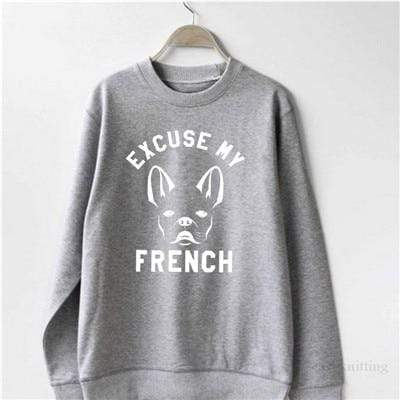 Frenchie World Shop WS0118-grey / L Excuse My French Women Crewneck