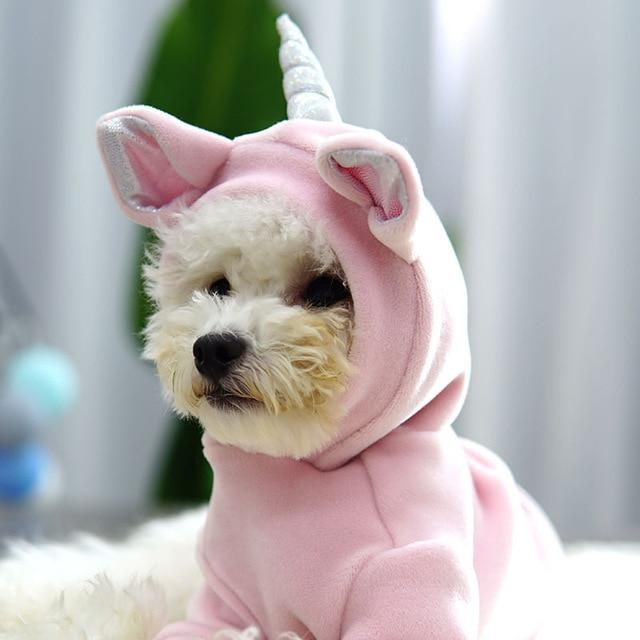 Frenchie World Shop Pink / S Fall and Winter 2019 Newest Unicorn Design Pink Blue Colors S-xxl Sizes Warm Two Feet Pet Clothing Lovely Clothing for Small Dog