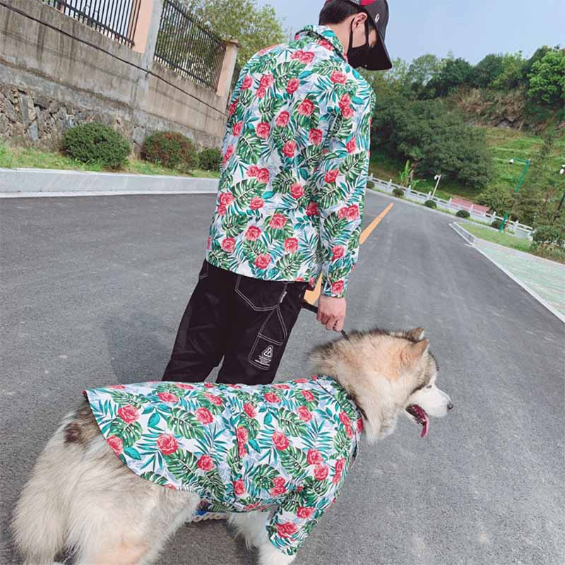 Fashion Dog Shirt Hawaiian Style Pet Matching Clothes For Medium Large Dogs Costume Labrador Golden Retriever Pets Dogs Clothing