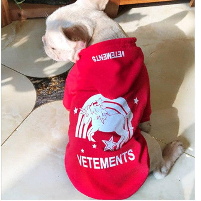 Frenchie World Shop red / S Fashion Pet Dog Clothes Dog Hooded Sweatshirt Leisure Type For French Bulldog Pug Schnauzer Cotton Dog Hoodie