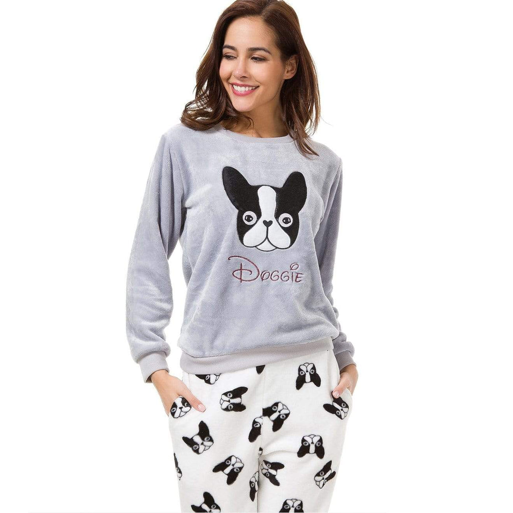 Frenchie World Shop A Dog / L Flannel Women Pajamas