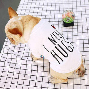 Frenchie World Shop white / L French Bulldog Corgi Pug Dog Small and Medium Pet Clothing Embroidered Pullover Love Hug Round Neck Shirt