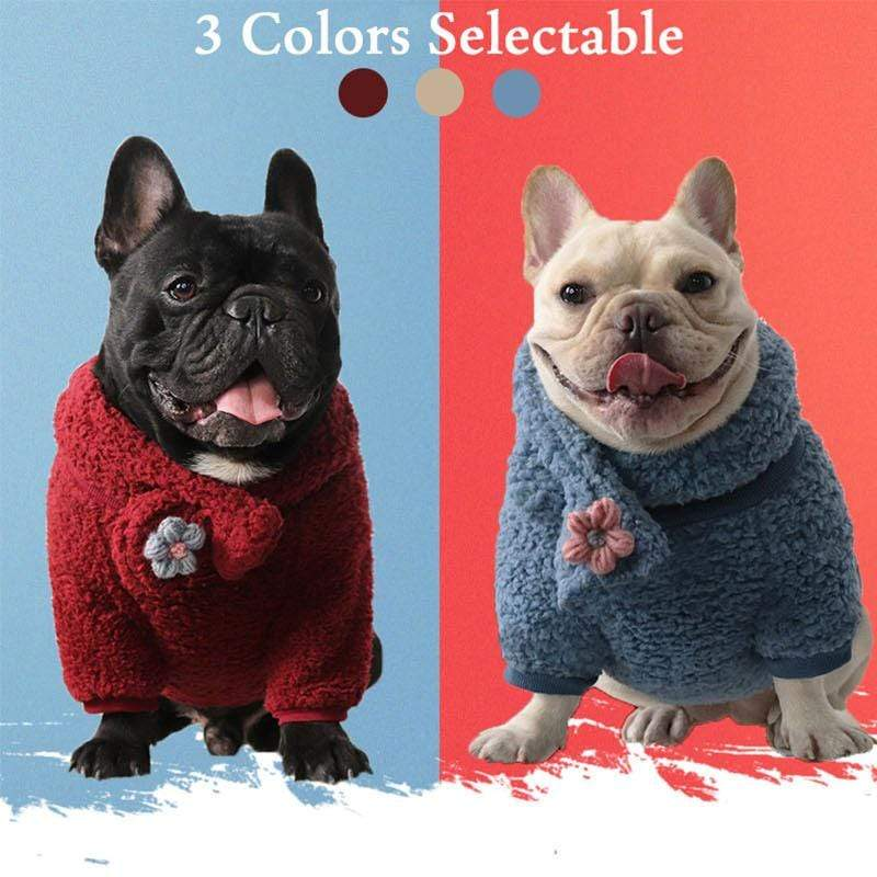Frenchie World Shop French Bulldog Cuddling Sweater With Matching Scarf