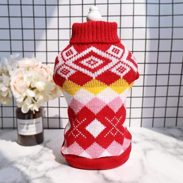 Frenchie World Shop Red / L French Bulldog Knitted Argyle Sweater