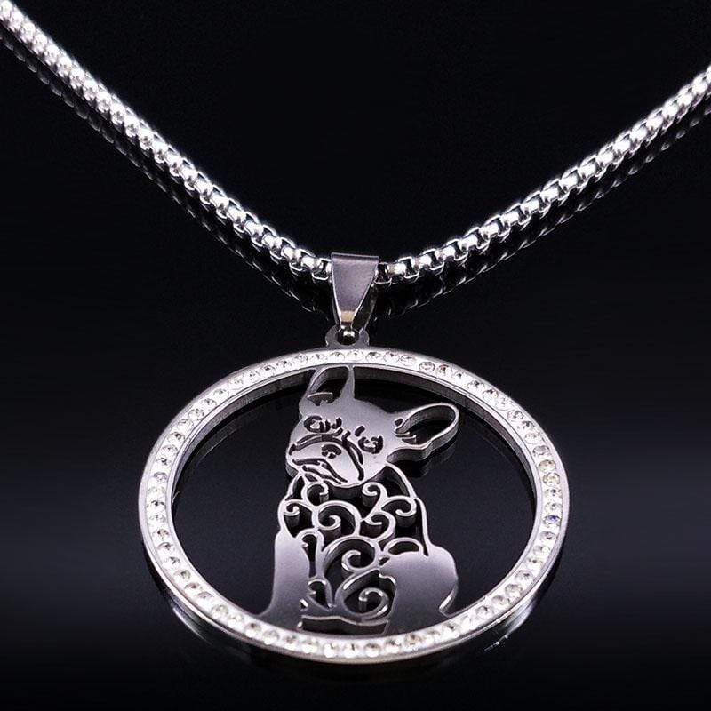Frenchie World Shop a SR 50 cm BOX French Bulldog Pendant With Zircons