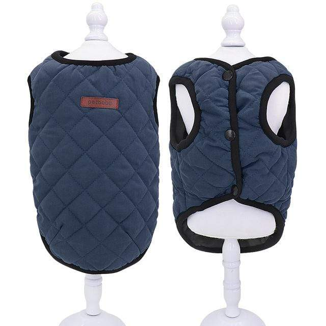 Frenchie World Shop Blue / 2XL French Bulldog Quilted Winter Vest
