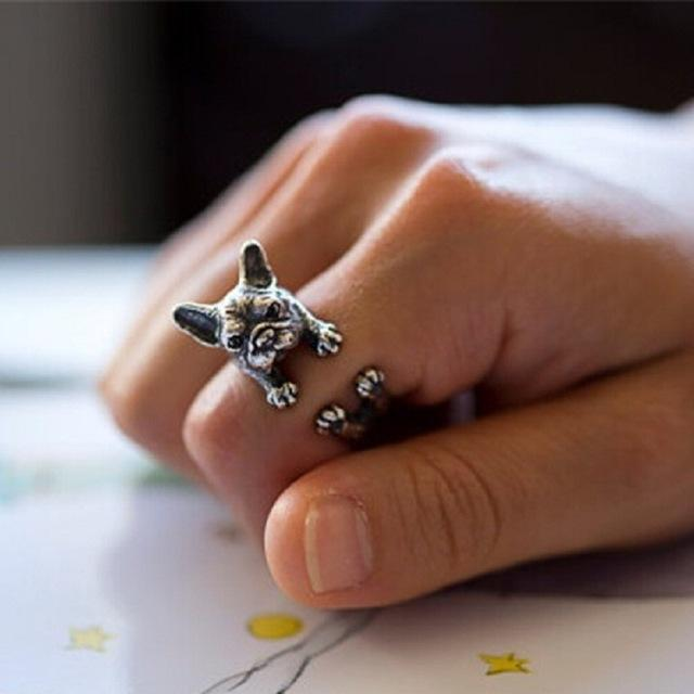 Frenchie World Shop Resizable / Antique Silver Plated French Bulldog Ring