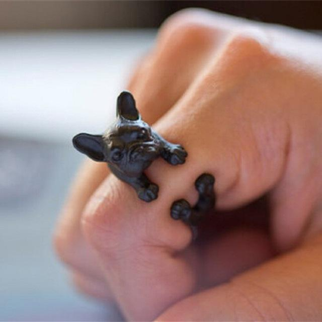 Frenchie World Shop Resizable / Black Gun Plated French Bulldog Ring