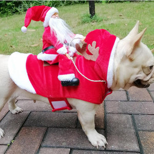 Frenchie World Shop French Bulldog Santa Claus Riding Deer Christmas Costume