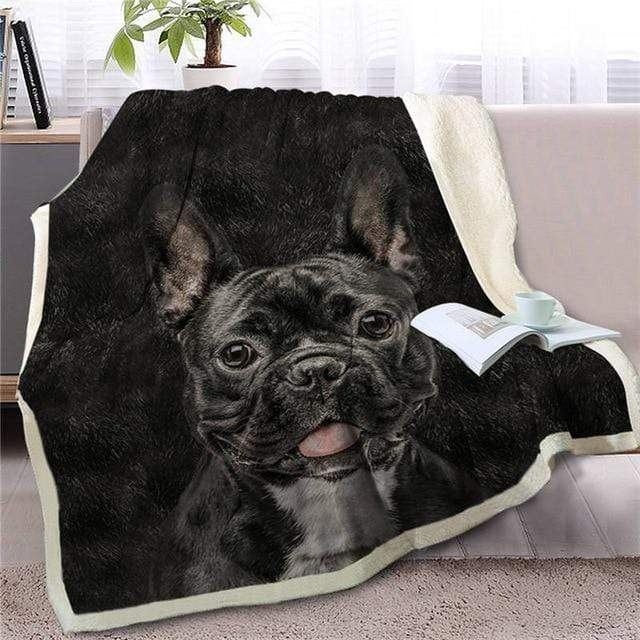 Frenchie World Shop 150cm x 200cm / 150cmx200cm French Bulldog Sherpa Throw Blanket