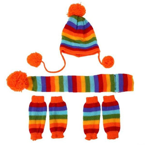 Frenchie World Shop Multicolor / S French Bulldog Woolen Knitted Hat, Scarf and Leg Warmer Set