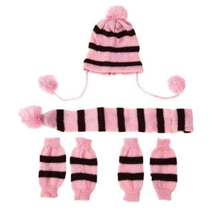 Frenchie World Shop Pink / S French Bulldog Woolen Knitted Hat, Scarf and Leg Warmer Set