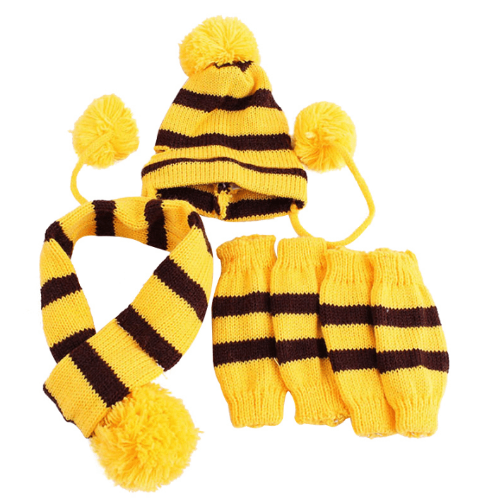 Frenchie World Shop Yellow / XS French Bulldog Woolen Knitted Hat, Scarf and Leg Warmer Set