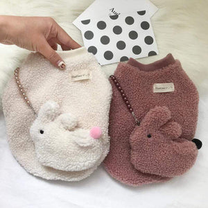 Frenchie World Shop Frenchie Fuzzy Sweater With a Bunny Bag
